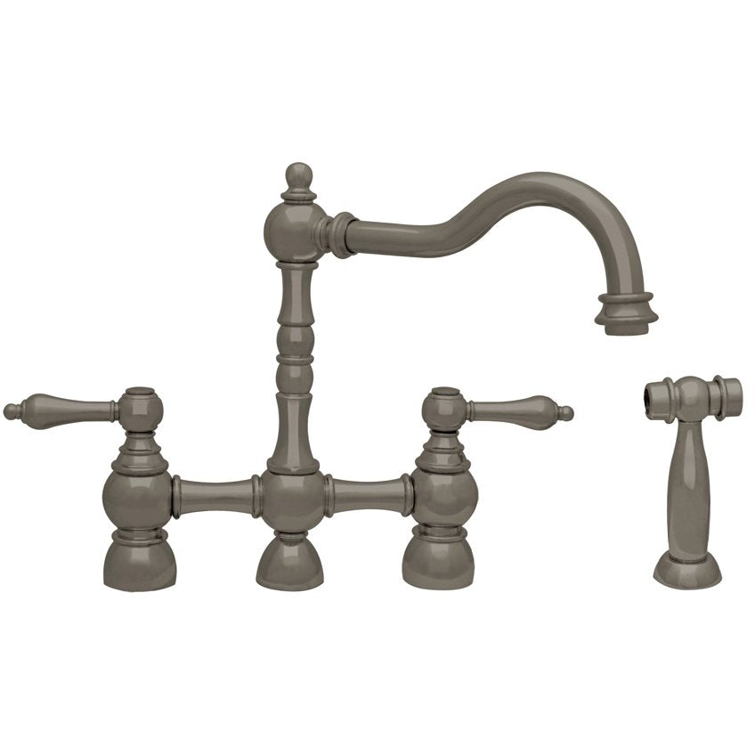 Whitehaus Englishhaus Bridge Faucet with Long Traditional Swivel Spout, Solid Lever Handles and Solid Brass Side Spray