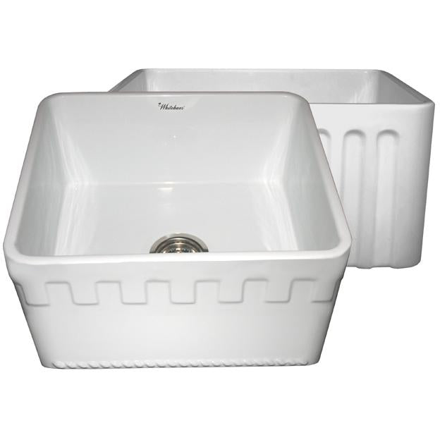Whitehaus Farmhaus Fireclay Reversible Sink with a Castlehaus Design Front Apron on One Side and Fluted Front Apron on the Opposite Side