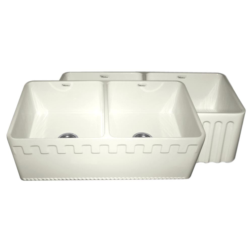 Whitehaus Farmhaus Fireclay Reversible Double Bowl Sink with a Castlehaus Design Front Apron on One Side and Fluted Front Apron on the Opposite Side