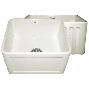 Whitehaus Farmhaus Fireclay Reversible Sink with a Concave Front Apron on One Side and Fluted Front Apron on the Other