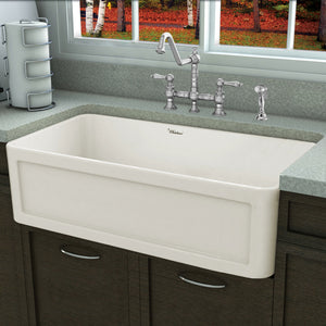 "Whitehaus Fireclay 33"" Large Reversible Sink with Concave Front Apron on One Side and a Plain Front Apron on the Other"