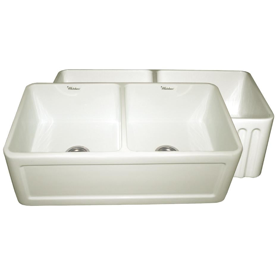Whitehaus Farmhaus Fireclay Reversible Double Bowl Sink with a Concave Front Apron on One Side and Fluted Front Apron on the Other