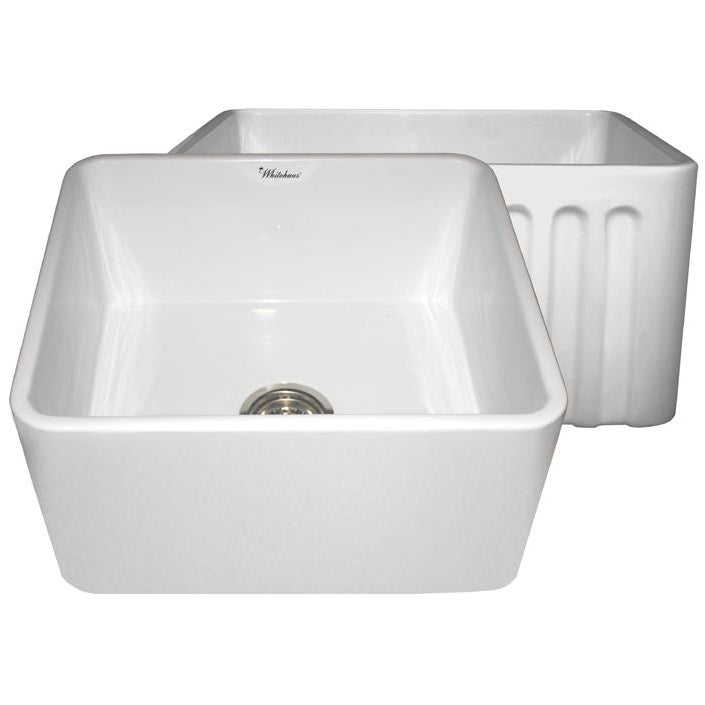 Whitehaus Farmhaus Fireclay Reversible Sink with Smooth Front Apron on One Side and Fluted Front Apron on the Opposite Side