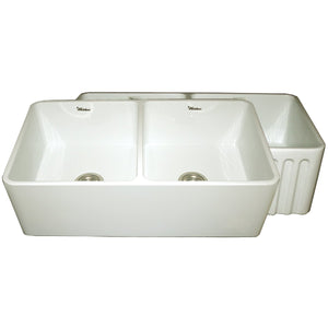 Whitehaus Farmhaus Fireclay Reversible Double Bowl Kitchen Sink with Smooth Front Apron on One Side and Fluted Front Apron on the Opposite Side