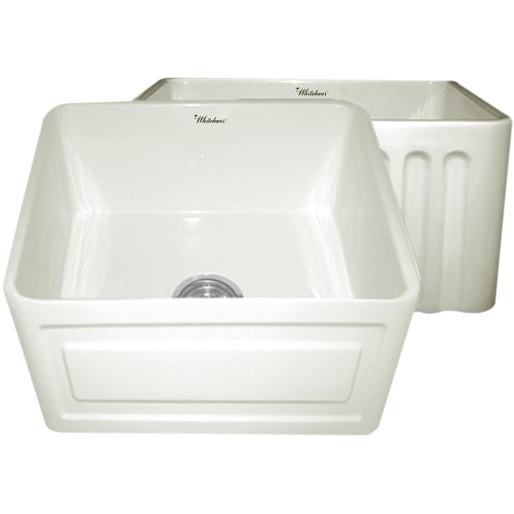 Whitehaus Farmhaus Fireclay Reversible Sink with a Raised Panel Front Apron on One Side and Fluted Front Apron on the Opposite Side