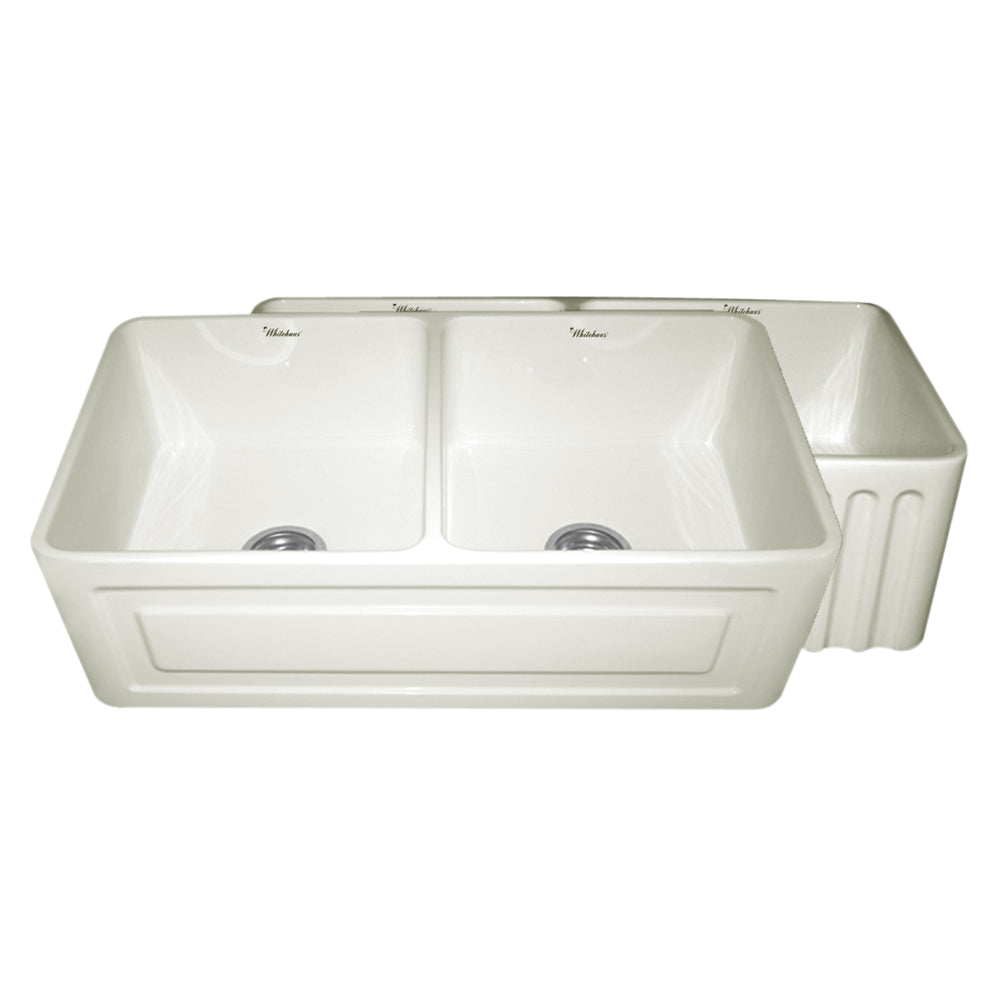 Whitehaus Farmhaus Fireclay Reversible Double Bowl Sink with a Raised Panel Front Apron on One Side and Fluted Front Apron on the Opposite Side