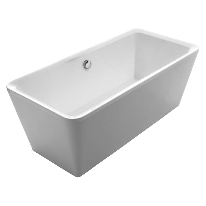 Whitehaus Bathhaus Cubic Style Freestanding Double Ended Lucite Acrylic Bathtub with a chrome mechanical pop-up waste and a chrome center drain with internal overflow