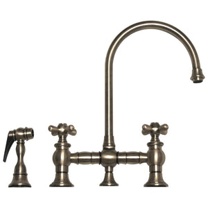 Whitehaus Vintage III Bridge Faucet with Long Gooseneck Swivel Spout, Cross Handles and Solid Brass Side Spray