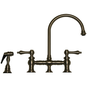 Whitehaus Vintage III Bridge Faucet with Long Gooseneck Swivel Spout, Lever Handles and Solid Brass Side Spray
