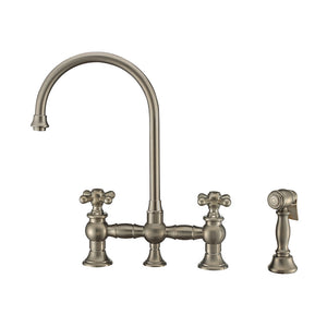 Whitehaus Vintage III Plus Bridge Faucet with Long Gooseneck Swivel Spout, Cross Handles and Solid Brass Side Spray