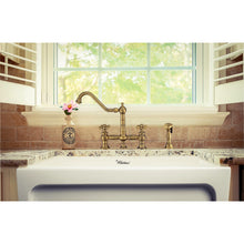 Whitehaus Vintage III Plus Bridge Faucet with Long Traditional Swivel Spout, Cross Handles and Solid Brass Side Spray