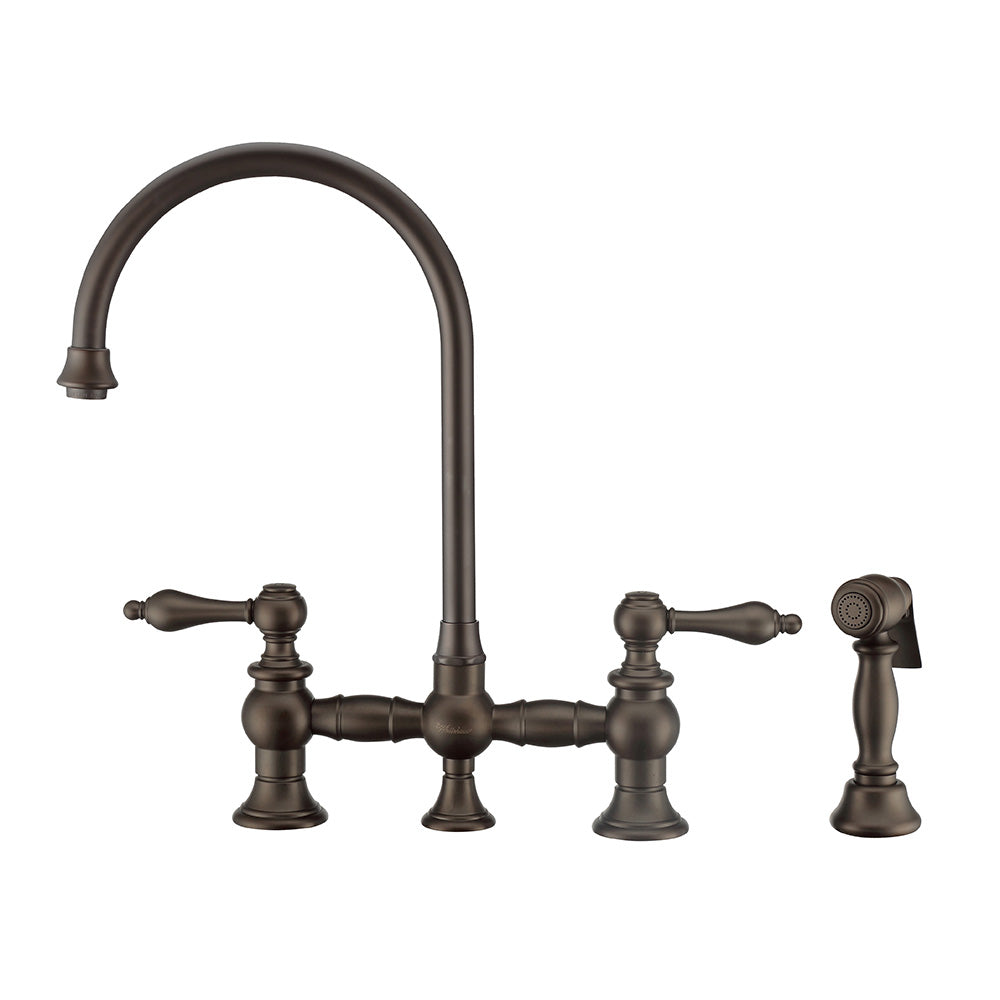 Whitehaus Vintage III Plus Bridge Faucet with Long Gooseneck Swivel Spout, Lever Handles and Solid Brass Side Spray