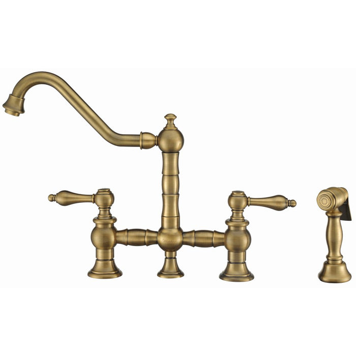 Whitehaus Vintage III Plus Bridge Faucet with Long Traditional Swivel Spout, Lever Handles and Solid Brass Side Spray