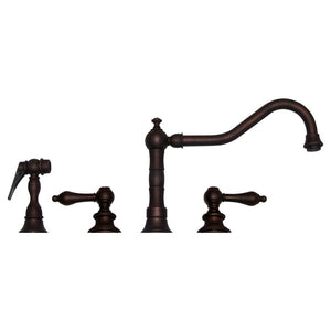Whitehaus Vintage III Widespread Faucet with Long Traditional Swivel Spout, Lever Handles and Solid Brass Side Spray