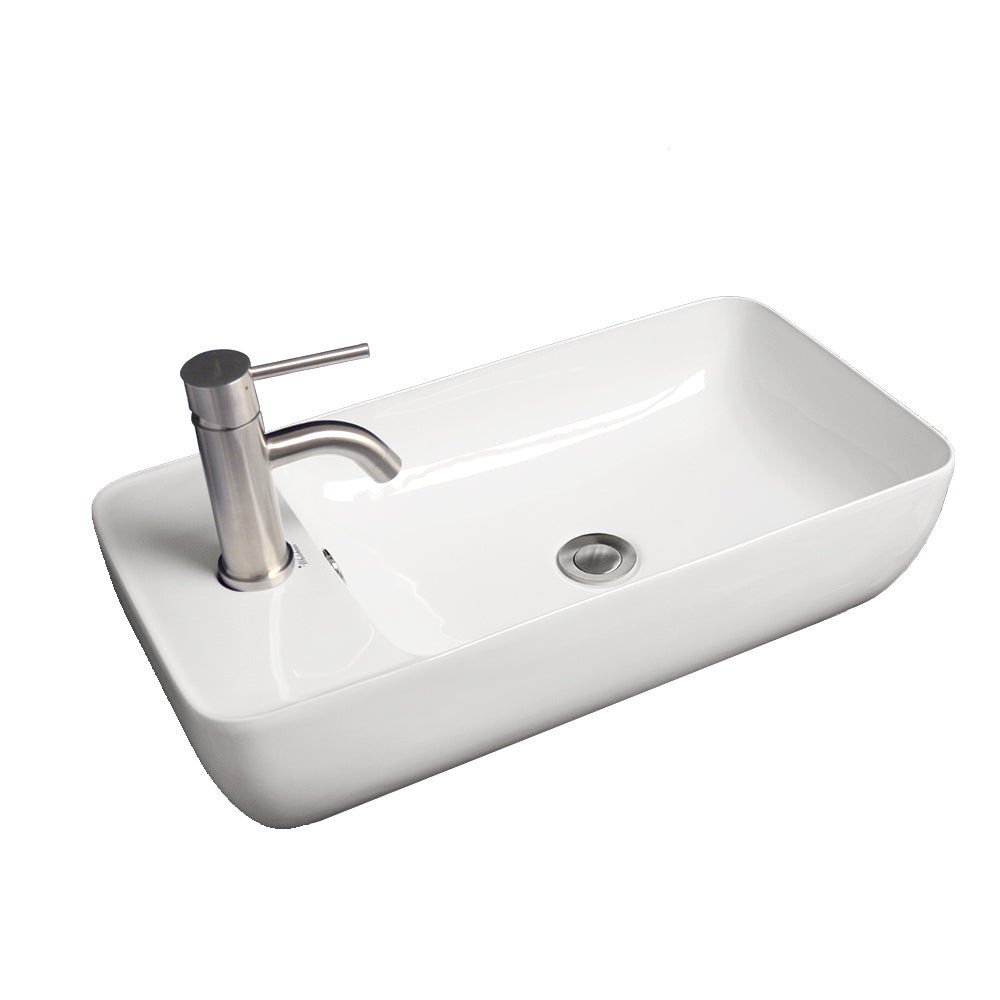 Whitehaus Isabella Collection Rectangular Above Mount Basin with Integrated Rectangular Bowl and a Center Drain