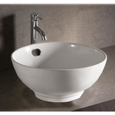 Whitehaus Isabella Collection Collection Round Above Mount Basin with Overflow and Center Drain