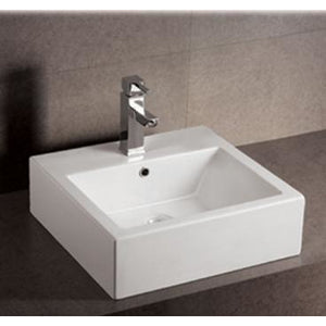 Whitehaus Isabella Collection Square Wall Mount Basin with Overflow, Single Faucet Hole and Rear Center Drain