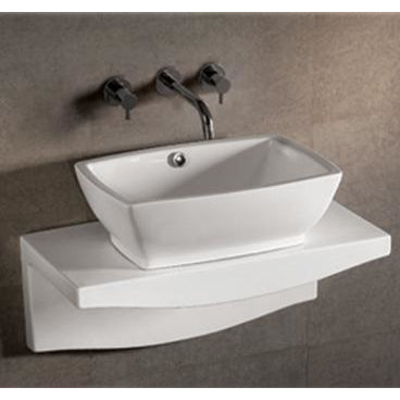 Whitehaus Isabella Collection Rectangular Above Mount Basin with Overflow, Center drain and Matching Wall Mount Counter Top