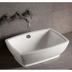 Whitehaus Isabella Collection Rectangular Above Mount Basin with Overflow and Center Drain