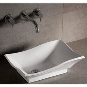 Whitehaus Isabella Collection Rectangular Above Mount Basin with Offset Center Drain