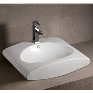 Whitehaus Isabella Collection Rectangular Wall Mount Bathroom Basin with Integrated Oval Bowl, Overflow, Single Faucet Hole and Rear Center Drain