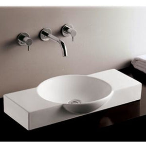 Whitehaus Isabella Collection Rectangular Above Mount Basin with Integrated Round Bowl and a Center Drain