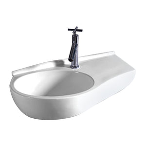 Whitehaus Isabella Collection Curve Shape Wall Mount Basin with Integrated Oval Bowl, Single Faucet Hole and Center Drain
