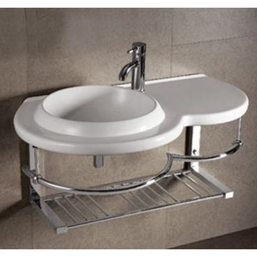 Whitehaus Isabella Collection Large Wall Mount Basin with Integrated Round Bowl, Single Faucet Hole and Center Drain