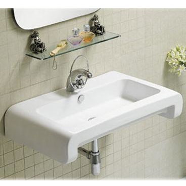 Whitehaus Isabella Collection Rectangular Wall Mount Basin with Overflow, Single Faucet Hole and Rear Center Drain