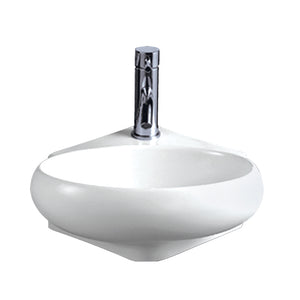 Whitehaus Isabella Collection Oval Corner Wall Mount Basin with Center Drain