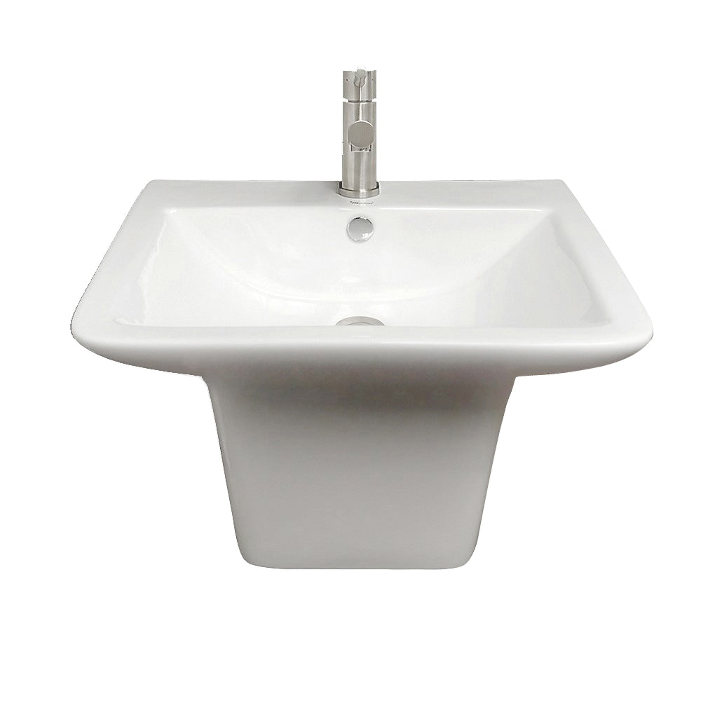 Whitehaus Isabella Collection Wall Mount Basin with Integrated Rectangular Bowl and a Center Drain