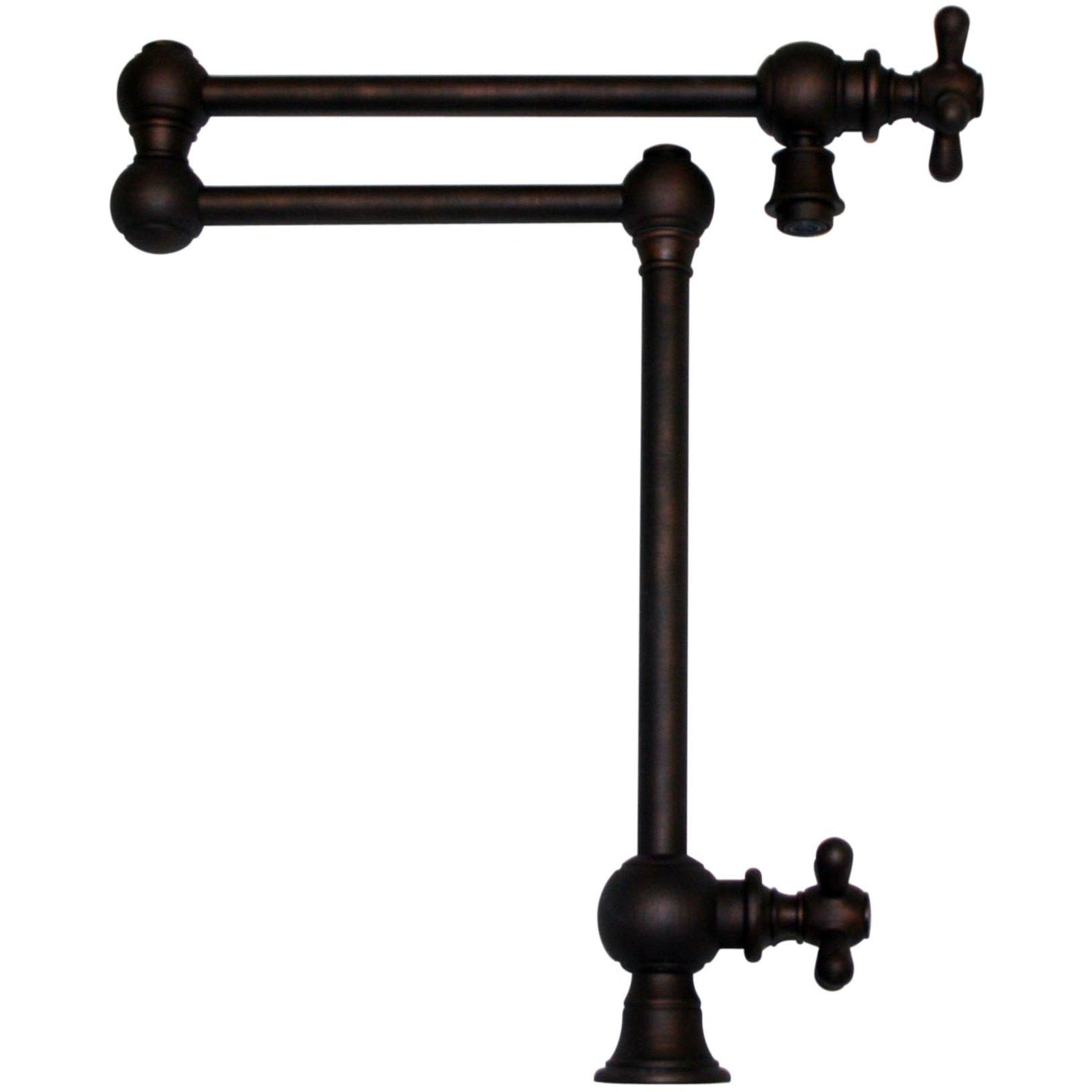 Whitehaus Vintage III Deck Mount Retractable Swing Spout Pot Filler with Cross Handles and Swivel Aerator