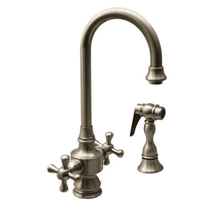 Whitehaus Vintage III Dual Handle Entertainment/Prep Faucet with Short Gooseneck Swivel Spout, Cross Handles and Solid Brass Side Spray