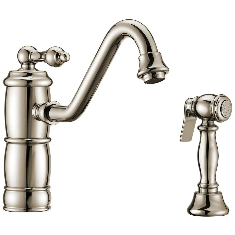Whitehaus Vintage III Plus single lever faucet with traditional swivel spout and solid brass side spray