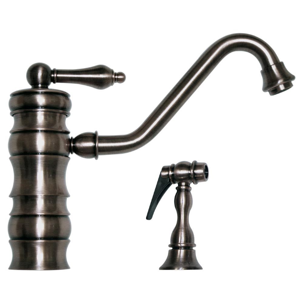 Whitehaus Vintage III Single Lever Faucet with Traditional Swivel Spout and Solid Brass Side Spray