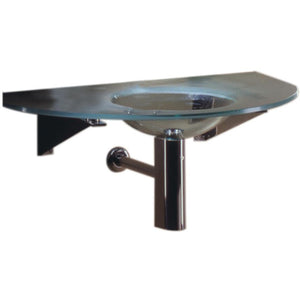 "Whitehaus New Generation Large Arched 1/2"" Matte Glass Counter Top with Integrated Round Basin"