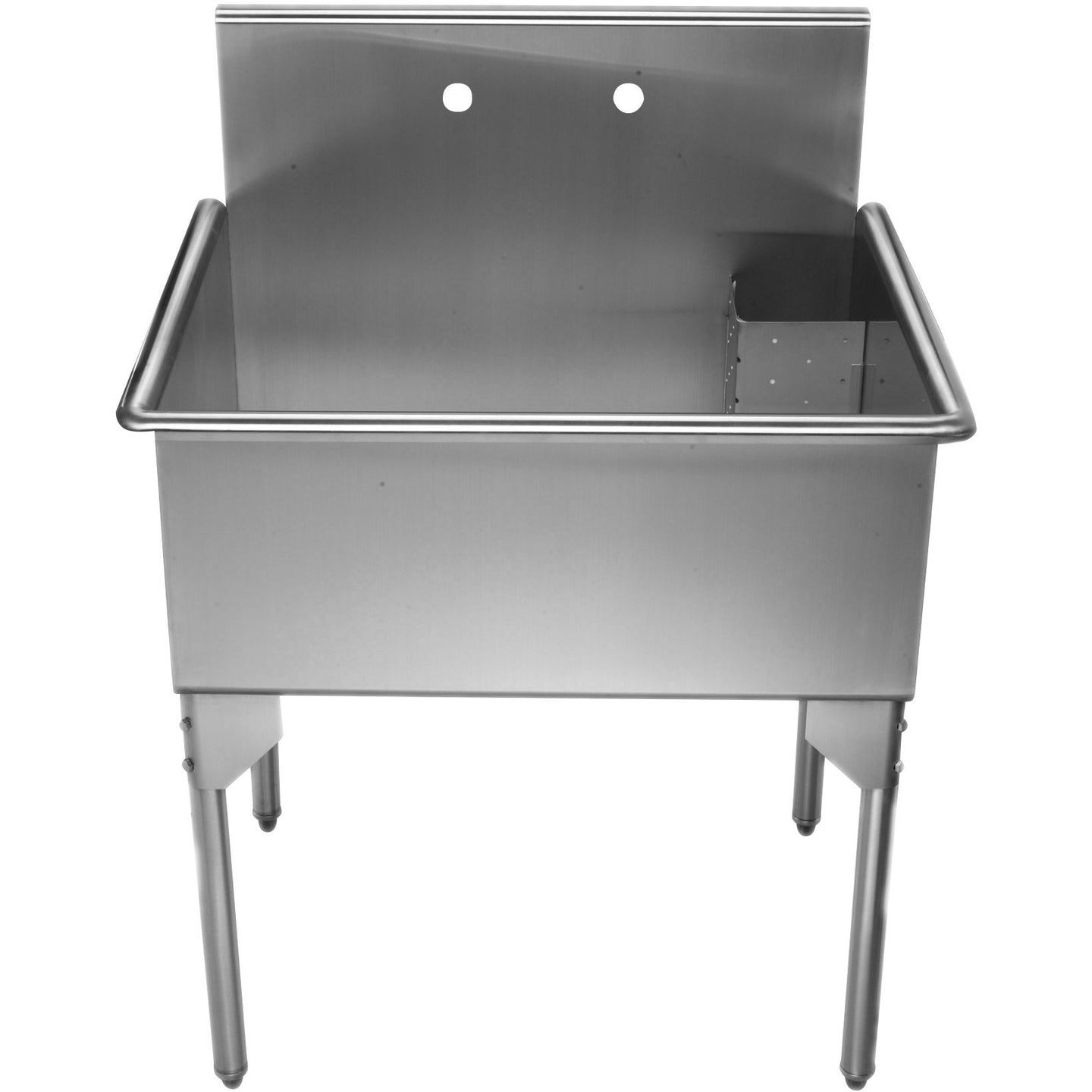 Whitehaus Pearlhaus Brushed Stainless Steel Single Bowl Commerical Freestanding Utility Sink