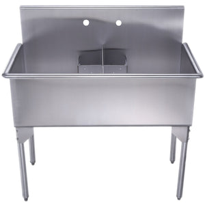 Whitehaus Pearlhaus Brushed Stainless Steel Double Bowl Commerical Freestanding Utility Sink