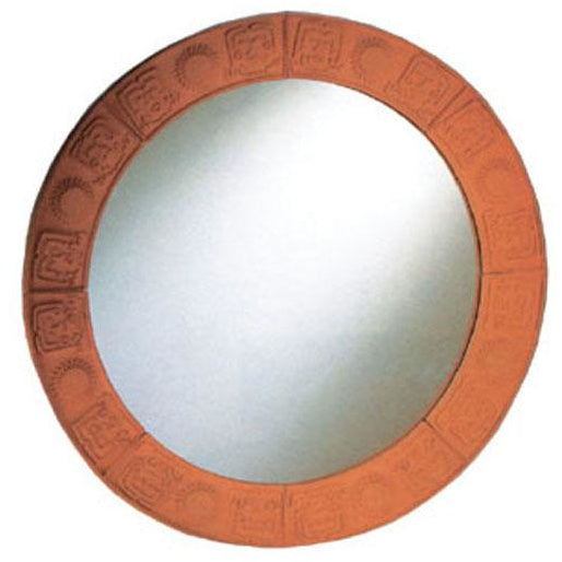Whitehaus New Generation Large Round Mirror with Embossed Terra Cotta Border