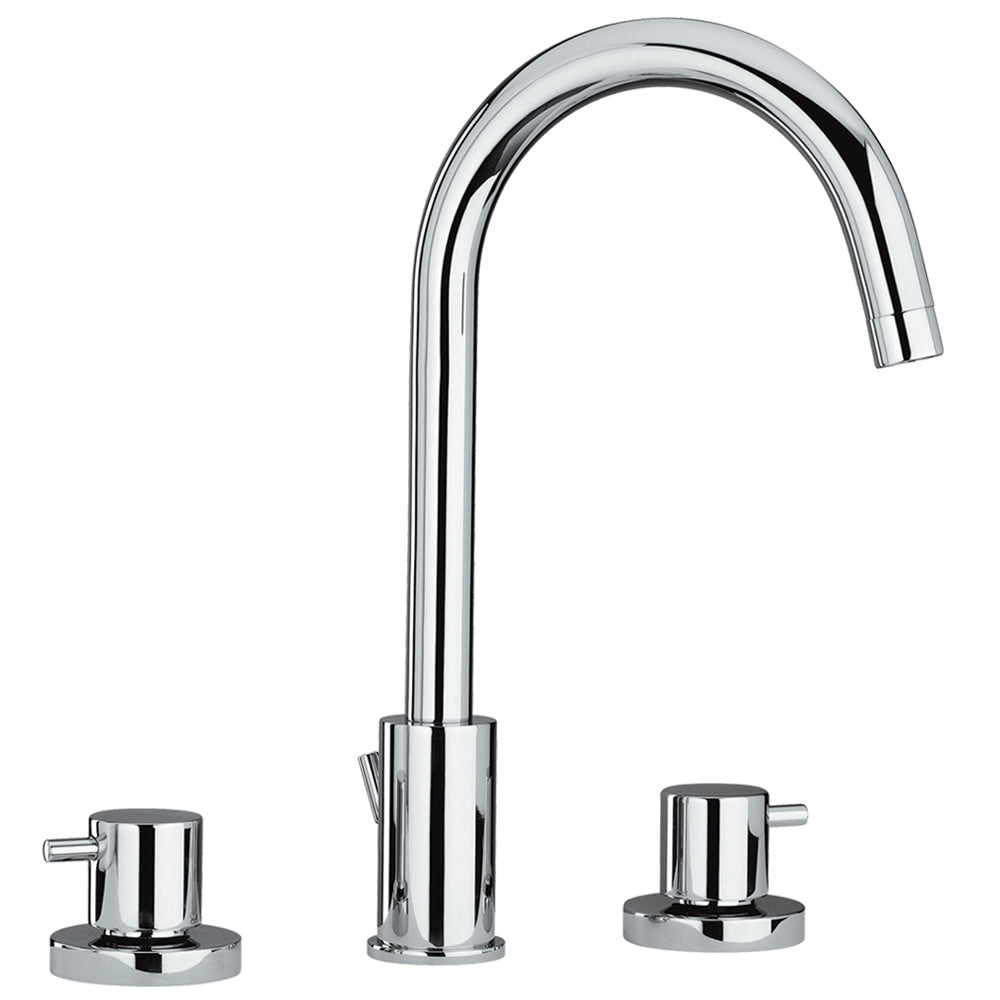 Whitehaus Luxe Widespread Lavatory Faucet with Tall Gooseneck Swivel Spout and Pop-up Waste