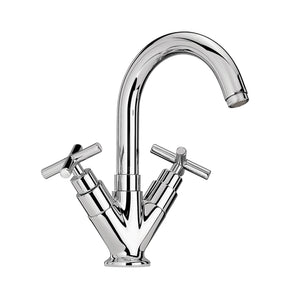Whitehaus Luxe Single Hole/Dual Handle Lavatory Faucet with Tubular Swivel Spout, Cross Handles and Pop-up Waste