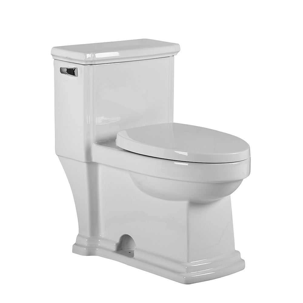 Whitehaus Magic Flush Eco-Friendly One Piece Single Flush Toilet with Elongated Bowl, and a 1.28 GPF capacity