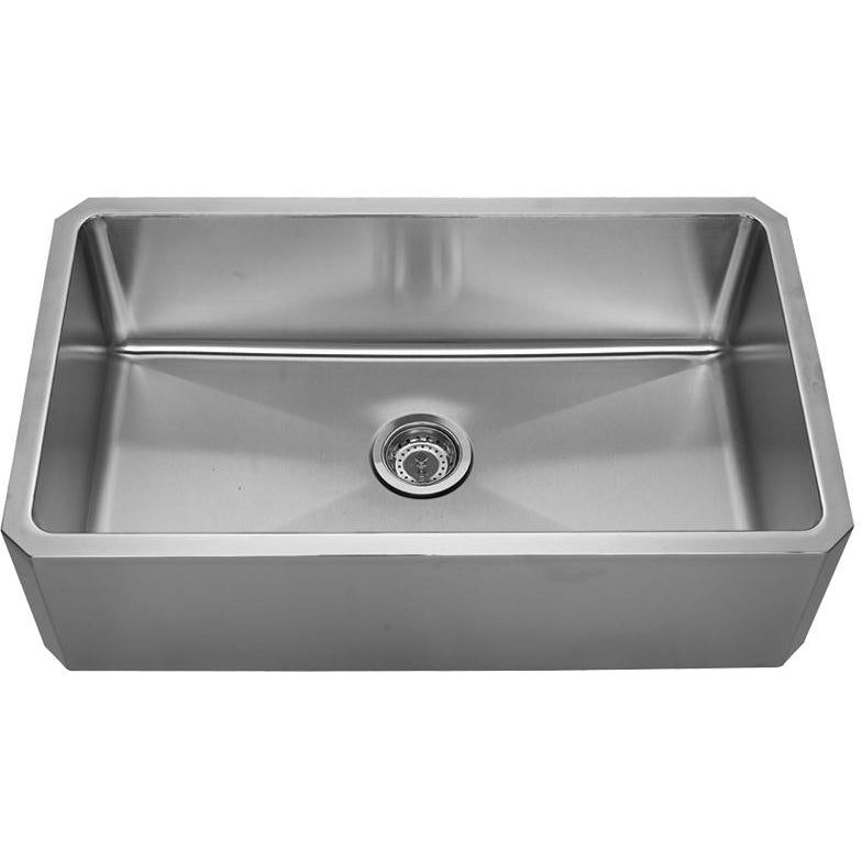 Whitehaus Noah's Collection Brushed Stainless Steel Single Bowl Front Apron Undermount Sink