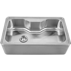 Whitehaus Noah's Collection Brushed Stainless Steel Single Bowl Drop-in Sink with a Seamless Customized Front Apron