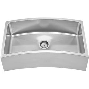 Whitehaus Noah's Collection Brushed Stainless Steel Chefhaus Series Single Bowl Front Apron/Undermount Sink with a Curved Design