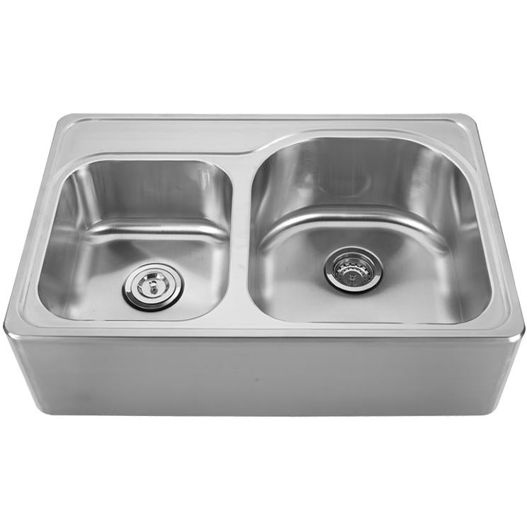 Whitehaus Noah's Collection Brushed Stainless Steel Double Bowl Drop-in Sink with a Seamless Customized Front Apron