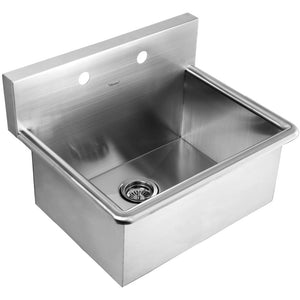 Whitehaus Noah's Collection Brushed Stainless Steel Commercial Drop-in or Wall Mount Utility Sink