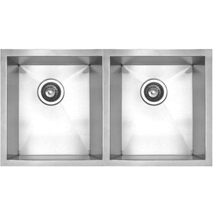 Whitehaus Noah's Collection Brushed Stainless Steel Chefhaus Series Double Bowl Undermount Sink