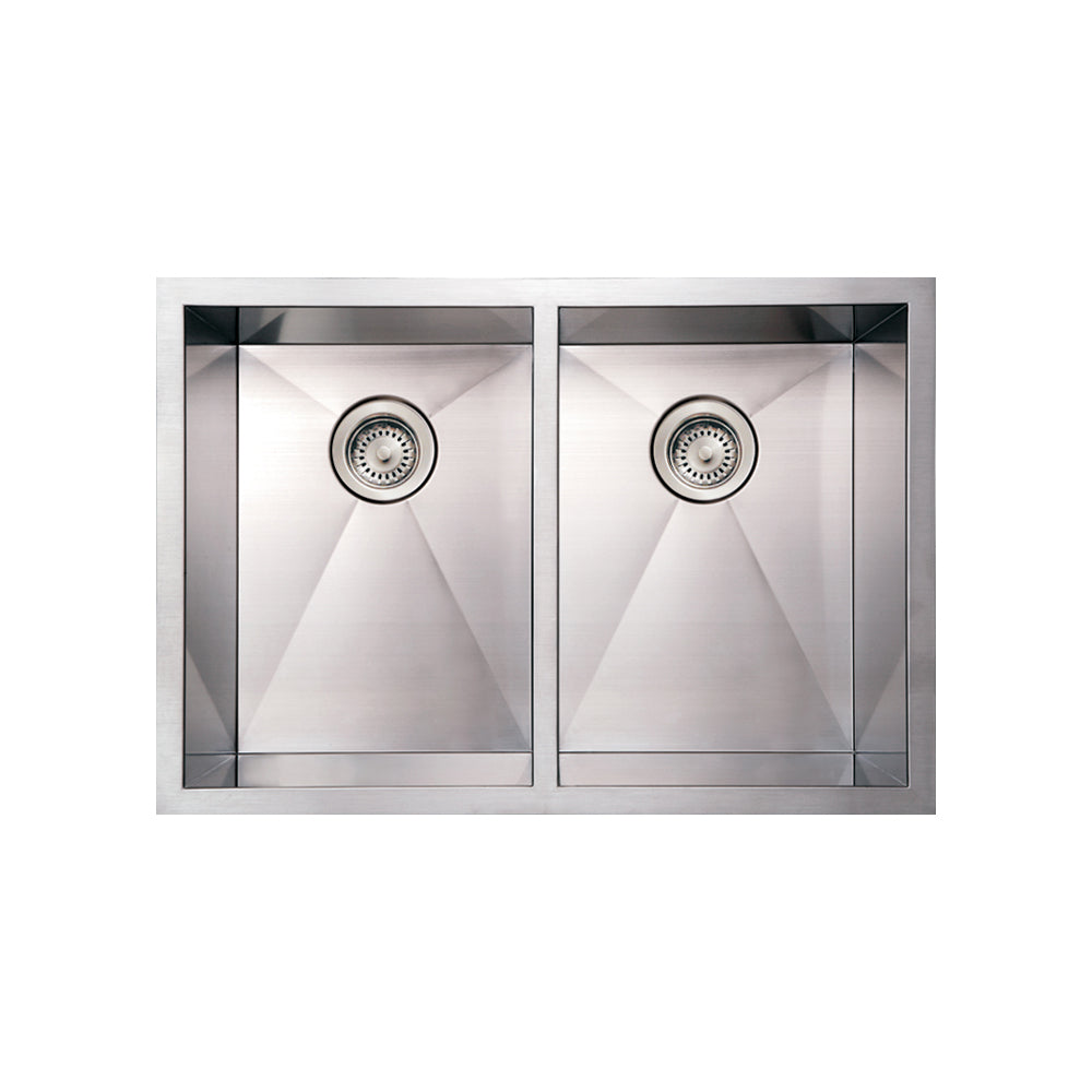 Whitehaus Noah's Collection Brushed Stainless Steel Commercial Double Bowl Undermount Sink