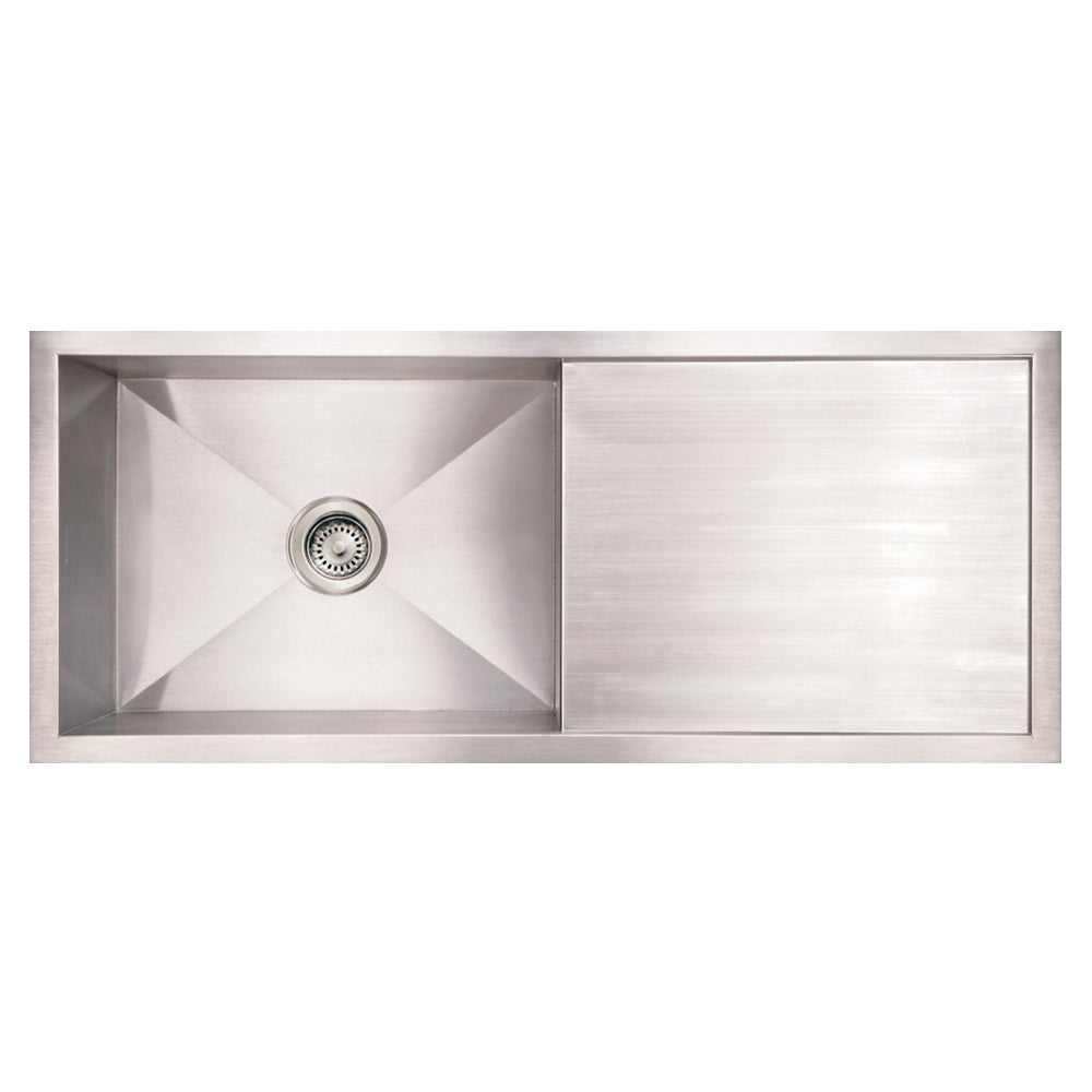 Whitehaus Noah's Collection Brushed Stainless Steel Commercial Single Bowl Reversible Undermount Sink with an Integral Drain Board